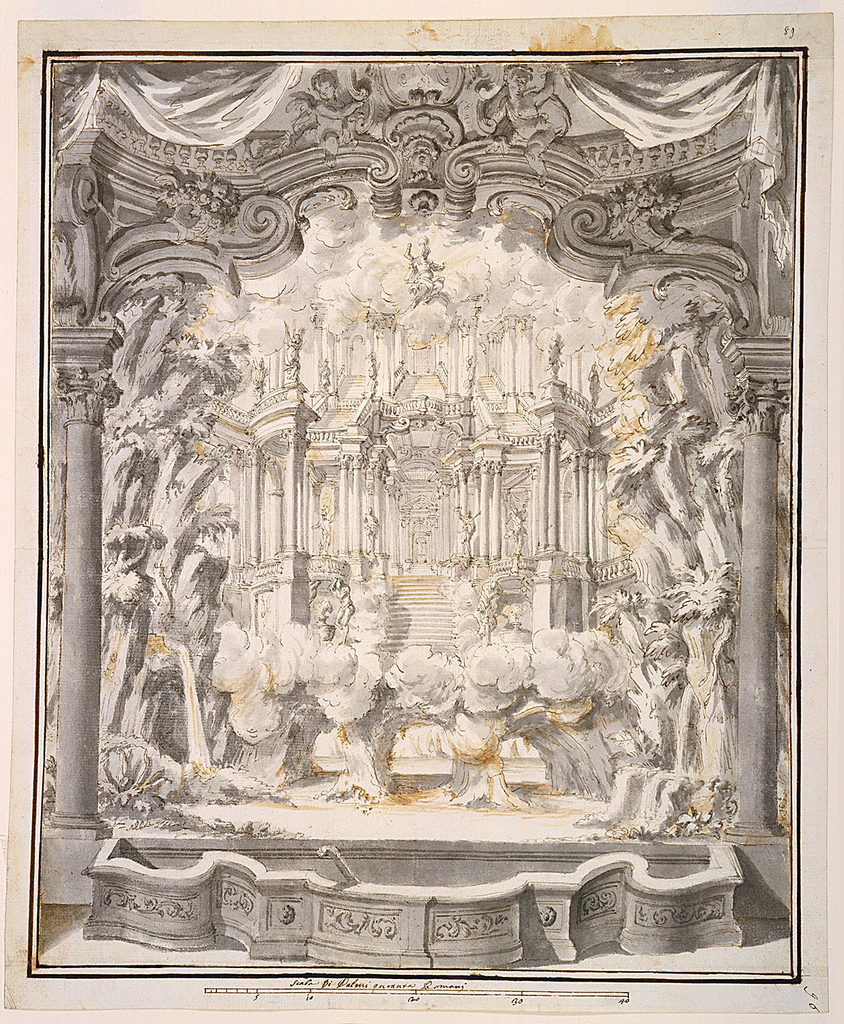 Vertical rectangle showing view of an elaborate three-tier architectural stage setting containing multiple flights of stairs decorated with sculpture. At sides, foliage and trees which suggest a grotto. At top clouds with a seated allegorical personage.Around the stage is an architectural framework with additional draperies and an orchestral area surrounded by a curved balustrade. At top of frame work is an escutcheon containing the letter M.