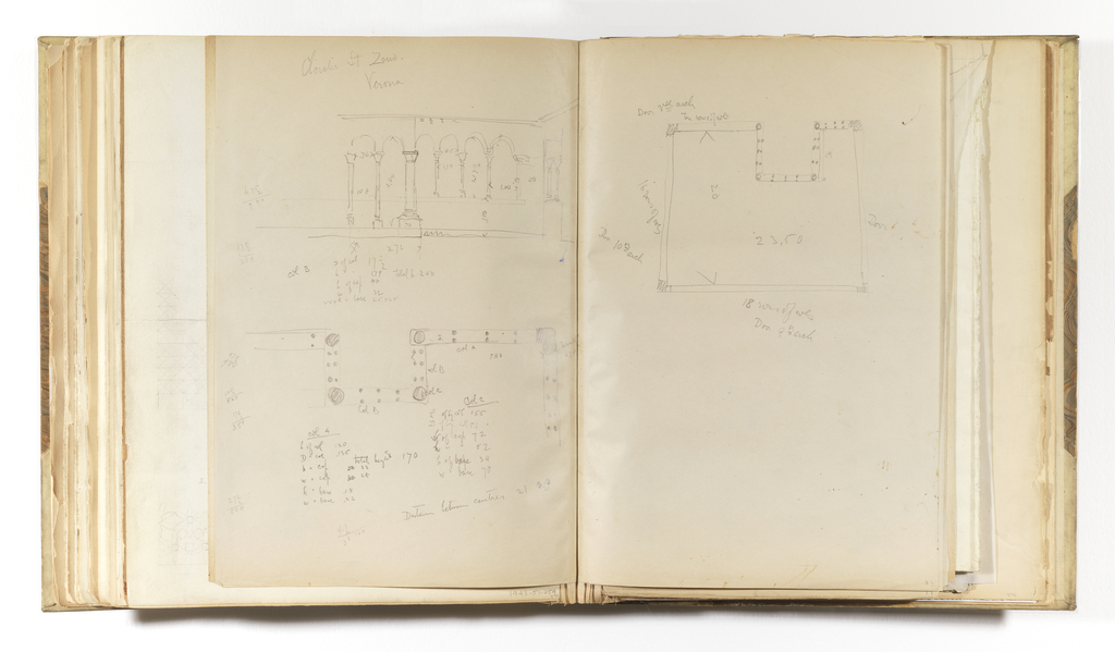 Horizontal sheet folded vertically to make two equal size sheets, tipped into binding. On the left side is an elevation of a cloister's colonnade; below it is a drawing of the same colonnade seen in plan.  Each sketch has many additional inscriptions about the distance between the columns and column dimensions.  On the right sheet is a simple plan of the cloister whose colonnade was viewed also in plan on the lower half of the left side.  The sheet has three horizontal creases from where it was once folded.