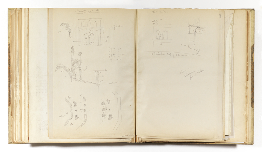 Vertical sheet tipped into binding depicting on three separate sketches: above is an elevation of a window bay with points 'AB' and 'CD' noted; in the center is a plan of the central column and arches referred to in the window above; at the bottom of the sheet are two plans of the from the same window in the upper sketch, but rendered from the two separate coordinates 'AB' and 'CD' referenced in the top sketch.