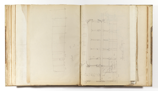 Vertical sheet folded and tipped horizontally into binding. The lower half of the sheet illustrates an elevation of a building with circular staircase at left leading to the second story. To the right of this at the first and second story is a colonnaded loggia. The roof above contains five dormered windows.  The upper half of the sheet contains a sketch of a rectangle with eight lines terminating in arrows.  There are inscriptions about the dimensions of the building's components written throughout.