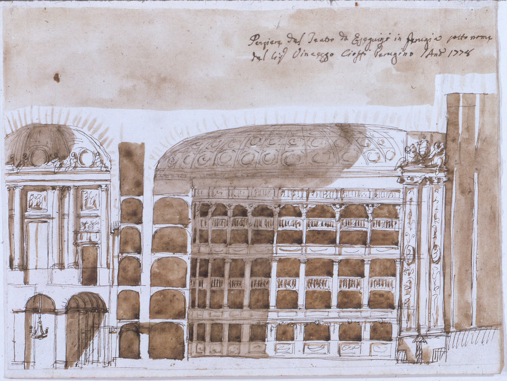 Horizontal rectangle: Cross-section of theatre on the long axis showing entrance, orchestra with boxes, and stage.
