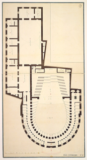 Plan of upper floor of theatre with horseshoe shaped section at bottom of image.