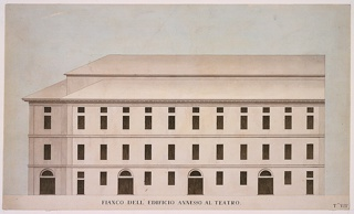"Elevation drawing of the exterior of theater ""annex"" showing four portals and three stories, executed in tones of tan-rose and dark gray."