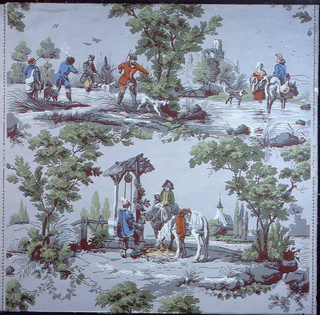 Vertical rectangle. Full width showing drop repeating design of three figural motifs in framework composed of trees: drovers at a well, hunters in a marsh, and muleteer with woman.