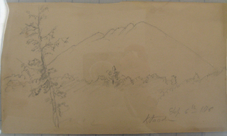 Drawing, Mt. Katahdin, woods, tree in foreground, 1876