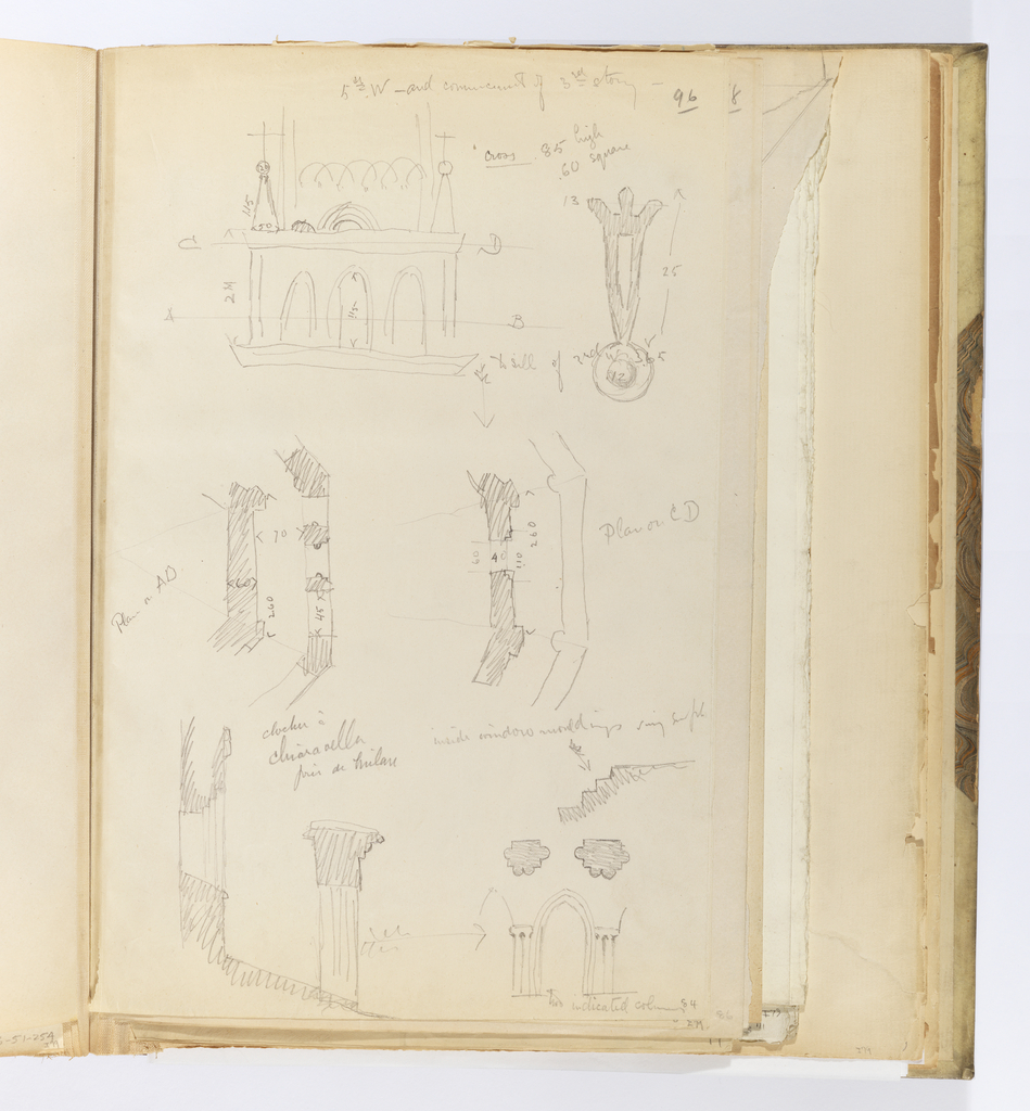 Vertical sheet that has been cut down from a larger sheet containing numerous sketches of architectural elements from a church.   At the top is a sketch of a window opening with three round arches.  To the right of this is a small object, possibly a doorknocker, seen in elevation.  In the center are two plans of the window above measured at two different locations.  Below this is a section of an arcade with two columns seen in plan above it and in elevation to the left.  There are many inscriptions throughout the sheet with dimensions and measurements.