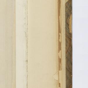 Vertical sheet tipped into binding depicting an elevation of a window inset with an arcade supported by three slender columns.  Below this is a section through the window sketched above.  A further detailed section of the columnar supports has been sketched below this and included dimensions and measurements.