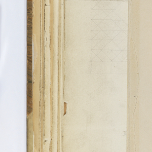 Horizontal sheet tipped vertically into binding so that the top edge of the drawing is the right side of the sheet.  Depicted on the sheet are a view in plan and elevation with measurements of the interior structure of a belfry with pulley and bells represented.  The verso has a small, light sketch of a paneled element, like a belfry cap, topped by a small finial.