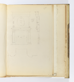 Horizontal sheet tipped vertically into binding and oriented so that the right edge of sheet is the top of the drawing space.  At left is a view in plan and elevation of a modillion with leaf and rosette elements.  To the right of this, and perpendicular to the drawing at left, is an elevation of the lower section of a group of pilasters with details of their dimensions and color indicated.  Below this, and again perpendicular to the first drawing at the left side of the sheet, is a plan, possibly of a group of pilasters like those in the second drawing previously described.