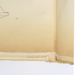 Vertical sheet tipped into binding depicting molding profiles with dimensions of the base of a pedestal.  The sheet has been inserted into the album upside-down so that the bottom edge of the sheet is actually the upper part of the drawing space.  On the proper upper left of sheet as it is bound in album is a full size drawing of beaded moulding; in proper lower half of the sheet is an elevation of a pedestal base with paneled ornament, including inscriptions about its dimensions.