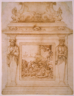 Decoration of statuary base for Genoese naval hero and imperial admiral Andrea Doria, whose successes are commemorated in the marine scene seen in the framed relief on the pedestal. Surrounding this scene are two cloaked herms, supporting capitals and the upper portion of the base. Turtles and sphinxes with fishtails and a satyr mask complete the decoration.