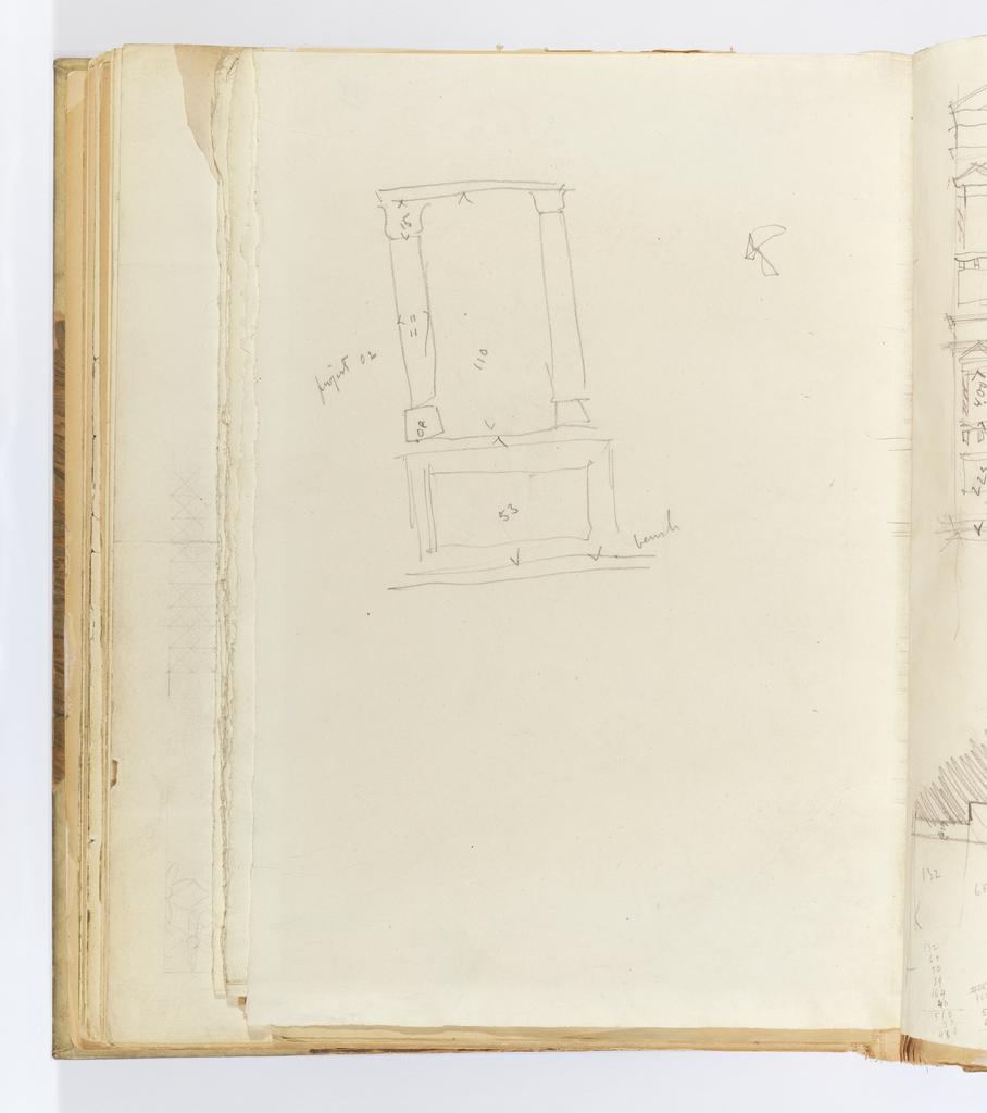 Vertical sheet with upper half of sheet depicting a sparsely sketched elevation of an opening spanned by a lintel supported by two columns on top of a base with a rectangular panel.  Some elements of the composition have inscribed dimensions.
