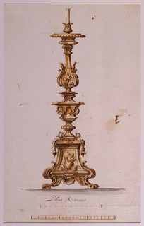 Base of candlestick has a burning heart above a flame. The shaft is designed as a high decorative vase with knots and  garlands at base and surrounding the body, ending in a baluster with an eight pointed star.