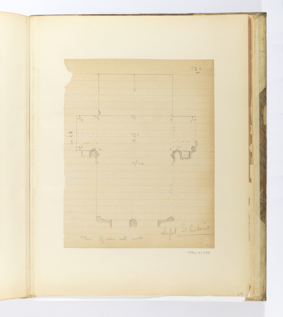 Vertical sheet illustrating a space with a cruciform plan.  Various supporting elements of the wall have been shaded, and dimensions of certain elements have been inscribed.