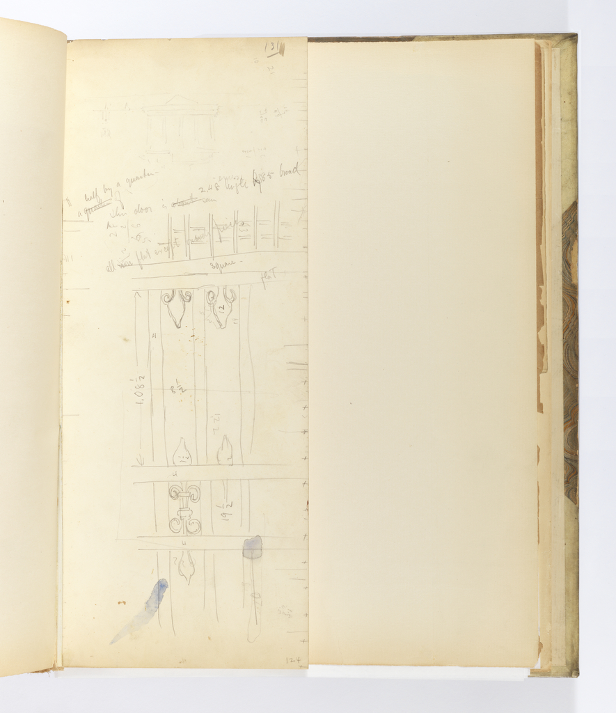 Narrow sheet that has been cut down from a larger sheet and tipped vertically into binding depicting a section of an iron gate with interlocking scroll ornament and stylized ornament like a fleur-de-lis.  Above is a very light sketch of a colonnaded classical building with triangular pediment, and there is another sketch of intersecting horizontal and vertical members below this, possibly related to the larger sketch of ironwork.  The sheet is made of multiple thickness of paper that seem to have been laminated together. The bottom right corner of the sheet is separating. There are various inscriptions with measurements.
