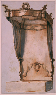 Vertical. Cut out following the outlines of the design. Shown from the left corner of the foot part. The bed is covered and appears as an oblong. Above the head part rises a pediment of a kind, framed by scrolls and bands. In the center on top is an indistinct motif, a shell or a leaf or a bead. Below it is an ovoidal medallion. The cresting of the canopy consists of a curve entablature upon which escutcheons stand at the four corners and in the middle of the three protruding sides. A horizontal strip of cloth and two curtains hang from the cresting.