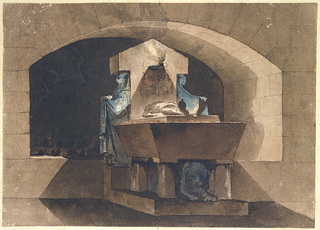 A drawing of a tomb with a sarcophagus placed before a niche with a shallow arched ceiling.  The headstone of the sarcophagius is flanked by 2 caryatids and bears hieroglyphic inscriptions and burning lamp.  A dead body is outstretched on bed of sarcophagus, which rests on four supports surrounding a recumbent lion.