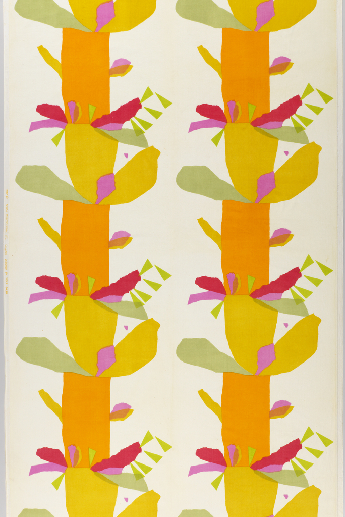 Length of printed velveteen with a strongly vertical design of two tree-like columns appearing to be composed of pieces of torn tissue paper, in electric shades of orange, yellow, fuchsia, pink, lime and mint green on a white ground.