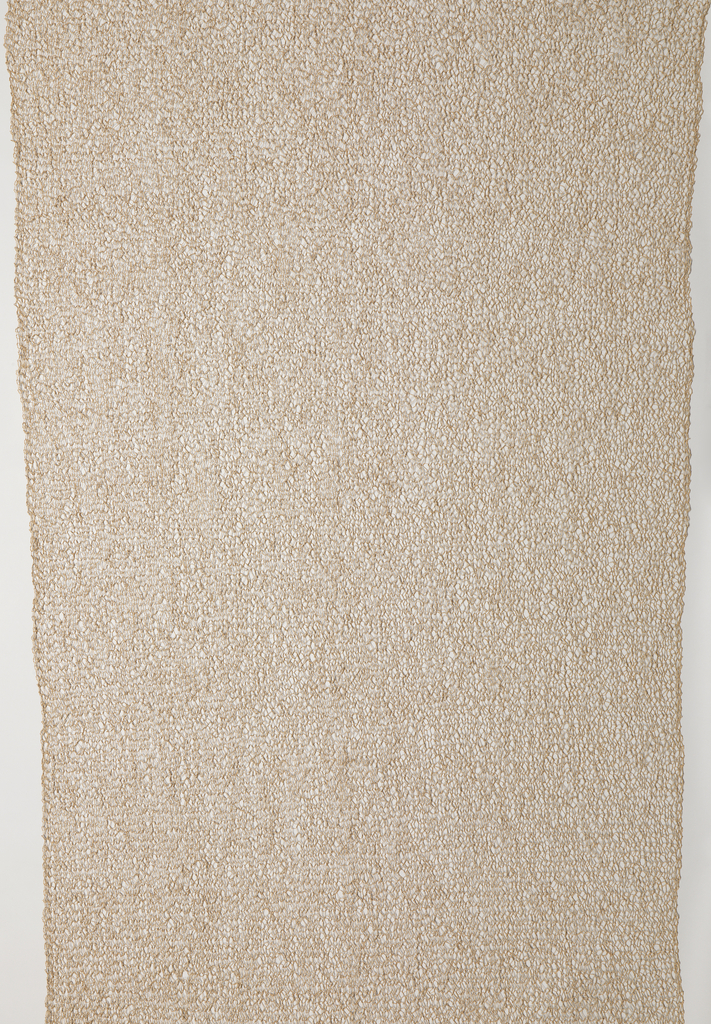 Unbleached spun paper yarn, knitted in an open structure to give a net-like effect.