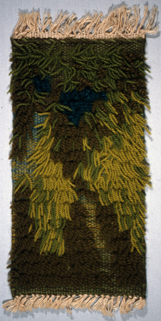 Sample for a knotted pile rug or hanging sample woven in shades of green and blue.