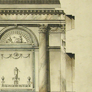 Elevation of a wall.  Horizontal composition in which two pairs of embedded columns flank a low and narrow door. Wall panels with arched, shallow straight niches follow them and are flanked at the either side by columns and pilasters.  The panels are decorated.  Inscriptions in the bottom left of sheet in black ink.