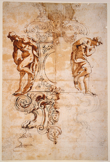 Drawing in three registers. Upper register, garlands are suspended from a large mask which is flanked by open scrolls; central register, two male nudes (slave figures in the style of Michelangelo) rest neatly within each curving concave side of the base flanking a framed central oval medallion; lower register, volutes and lion paws with the Farnese crest at center. The left half of the sheet is more finished.  Verso: Figures in a tondo. Left foreground, the Madonna is shown seated supporting the dead Christ in her lap;  right foreground,  the Magdalene kneels beside the Madonna behind which an unidentified figure stands. Left background, the Cross is faintly suggested. Upper edge of tondo, angels' heads.