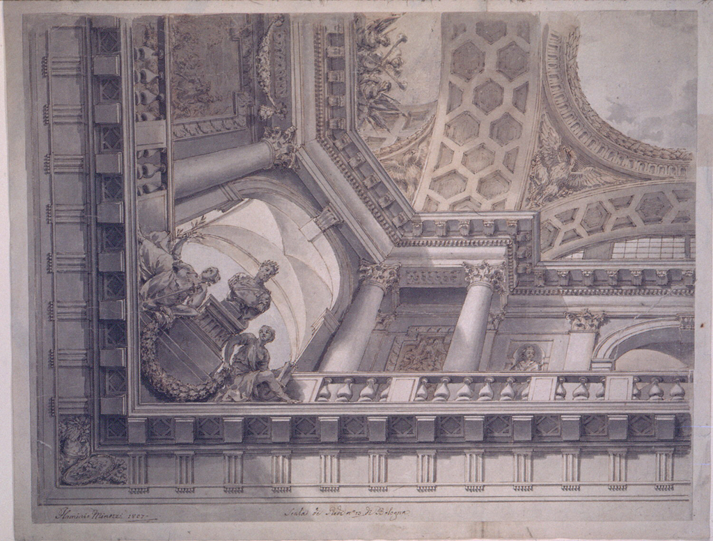 """One quarter is shown.  An entablature is shown from below.  Above its front rise the balustrades of upper galleries.  Their back walls are decorated with a battle scene at the short side, with an ornamental candelabrum, and a statue in a niche, at the long side .  An arch opens in the center of the latter another one stands across the corner.  Below it is the figure of a Roman emperor, seen from the back, upon a pedestal, with two female allegories, supporting a festoon, beside it.  An upper entablature is supported by columns and pilasters.  Above it rise arches, supporting an entablature as the frame of the central representation in the sky.  On top of the upper entablature, at the short side, is a trophy of arms, and the figures of two women in a partly erased fantastic architecture.  Signature below at left: """"Flaminio Minozzi 1807"""" In the center below: Scala di Piedi no.13 di Bologna."""