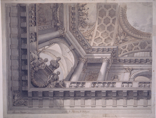"One quarter is shown.  An entablature is shown from below.  Above its front rise the balustrades of upper galleries.  Their back walls are decorated with a battle scene at the short side, with an ornamental candelabrum, and a statue in a niche, at the long side .  An arch opens in the center of the latter another one stands across the corner.  Below it is the figure of a Roman emperor, seen from the back, upon a pedestal, with two female allegories, supporting a festoon, beside it.  An upper entablature is supported by columns and pilasters.  Above it rise arches, supporting an entablature as the frame of the central representation in the sky.  On top of the upper entablature, at the short side, is a trophy of arms, and the figures of two women in a partly erased fantastic architecture.  Signature below at left: ""Flaminio Minozzi 1807"" In the center below: Scala di Piedi no.13 di Bologna."
