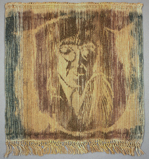 Warp-dyed hanging in shades of brown, gold and blue with the image of a head and shoulders.