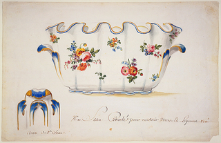Drawing of a porcelain punch ball in elevation with a fluted rim containing blue and brown (gold toned) bands, with scattered floral clusters. Detail of handle at lower left.