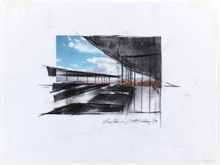 Architecture drawing of Museum of the Earth showing exterior (roofs) in relation to sky.  Color photographic reproduction of blue sky, clouds, and distant landscape pasted on vellum predominately on upper left side. On right side, black charcoal drawing showing partial view of glass room with a angled roof.  To show the great view of natural surrounding inside musuem.  On left side, view of roof system.  Multiple levels and angled.  On far left,a partial view of roof line almost parallel to the roof on right but lower.