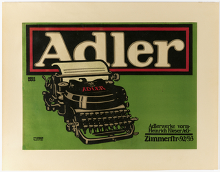 An Adler typewriter with typed piece of paper. Across the top: Adler. Lower right, in black ink: Adlerwerke vorm / Heinrich Kleyer AG / Zimmerftr.92/93.