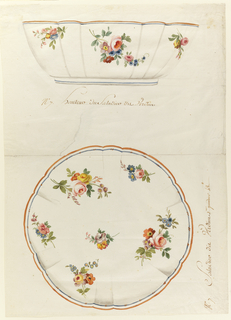 Salad bowl in elevation (above) and plan (below) with scalloped body and rim.  The rim is bordered with blue and gold; the shallow base in blue.  Exterior and interior of bowl is decorated with sprays of roses, ranuculusses, and colored daisies.