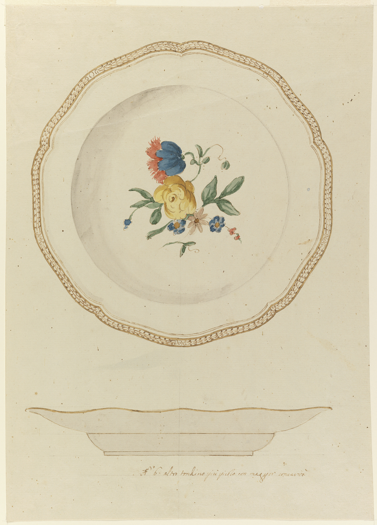 View of plate in plan (above) and in elevation (below).  Above, soup late with slightly scalloped rim decorated in fishscale pattern in gold, with a large floral spray of yellow rose and blue tulip? in middle.  Below, undecorated  lower rim edged in gold and base.