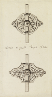 Upper, one bolt with the fixture in the shape of a rosette surrounded by a row of beads.  Lower, the fixture is ovoidal with leaves in arabesque, with small central rosette.