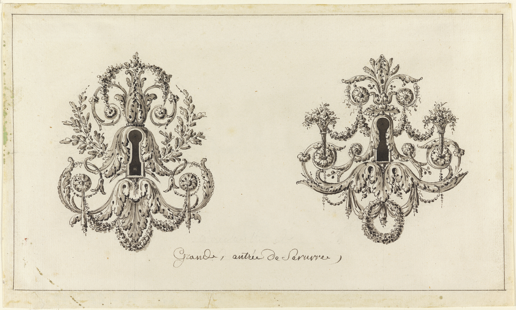 Drawing, Design for Two Bronze Key Plates
