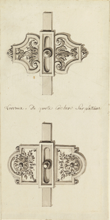 Upper bolt clasp is formed by rinceaux in ogival frames; lower bolt, by two rosettes, with laurel sprigs within rectangular frames with arched sides.