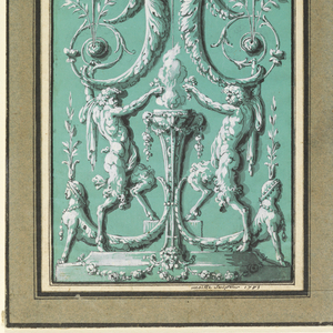 Design for a wall panel.  At the bottom, two satyrs sacrifice flowers at the foot of a burning candelabrum. The satyrs support, with their heads, two half female figures (half female and half flower stem).  The figures hold a medallion with a maenad.  A putto, supporting a vase, stands on top of the medallion. At the very to center of the composition are two billing doves and at the edges two putti.  The putti hold festoons and garlands from which then flower baskets are suspended.  The doves hold long garlands, which are then connected to two female figures (one at each side of the central composition).  These female figures in turn stand on long decorative spears, which rest on the end tips of the half female figures.