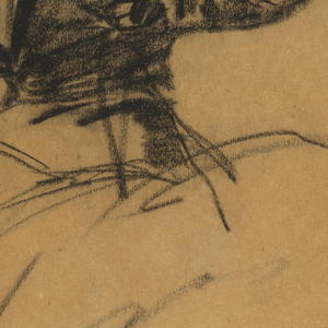Vertical study of soldier on horseback [horse is just suggested], with a sword in the hand of his upraised right arm and the reigns in his left and.