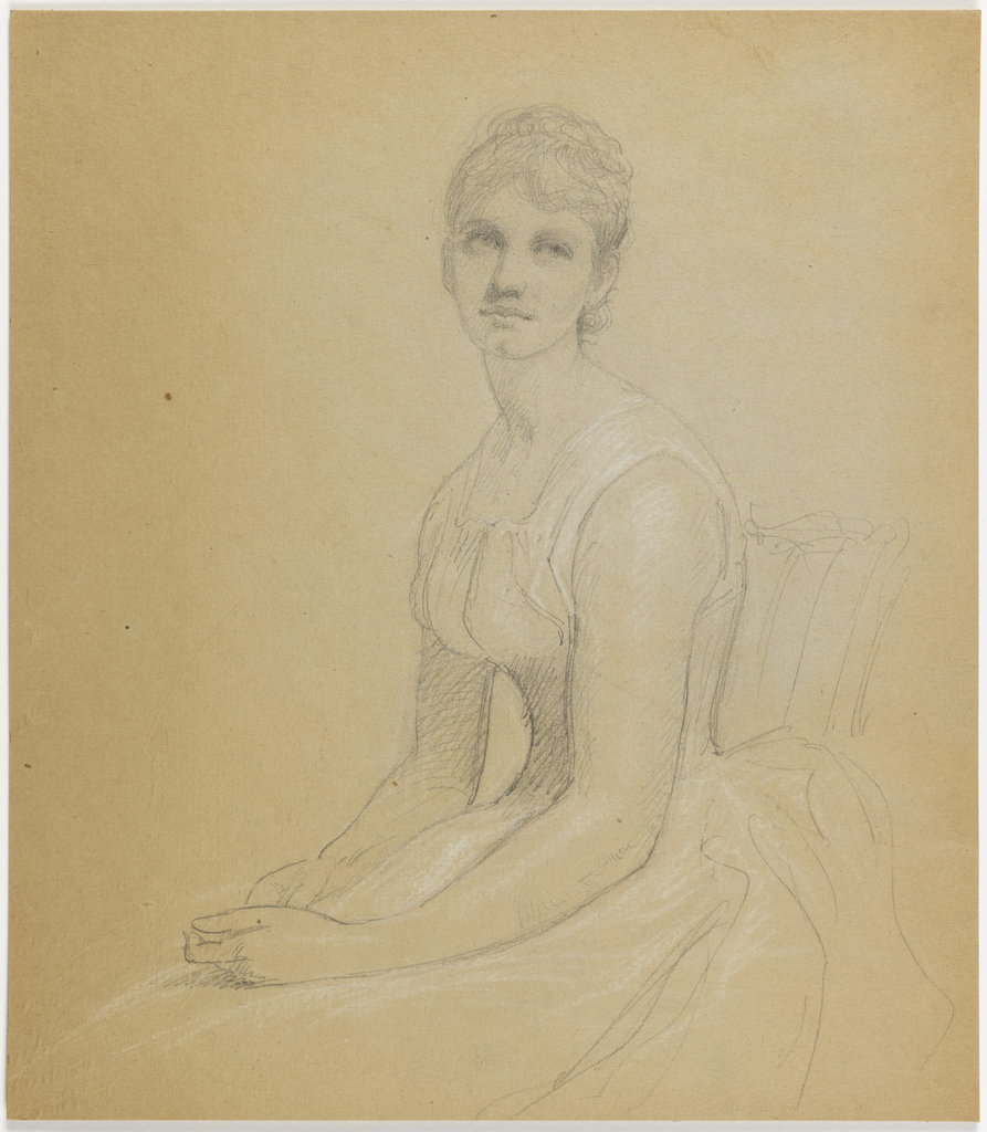 Vertical sheet with a woman seated with her hands in her lap.  She is facing to the left and has raised her head up over her left shoulder.