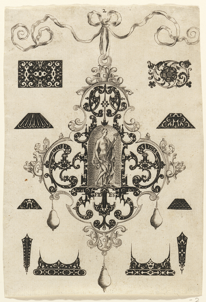 """Pendant design with scroll motifs and hanging pear-shaped pearls. Central Image: FIDES (Loyalty) shown as a nude woman with drapery holding cross and book (Bible?).  Surrounding the pendant are blackwork ornament designs for enamelists, mostly showing possibilities for the top and sides of rings.  Inscribed below image: """"FIDES""""  ( Plate 2 matted with 6161.1-1,3/4.2000)"""