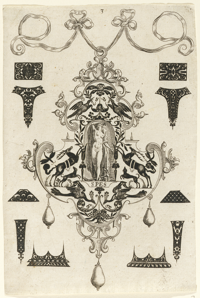 """Pendant design with animal motifs and hanging pearls.  Central Image:  nude women (Hope) looks heavenward.  Inscribed below image: """"SPES"""".    Surrounding the pendant are blackwork ornament designs for enamelists, mostly showing possibilities for the top and sides of rings.  (Matted with 6161.1-1/2, 4.2000)"""