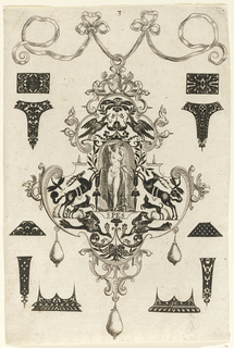 "Pendant design with animal motifs and hanging pearls.  Central Image:  nude women (Hope) looks heavenward.  Inscribed below image: ""SPES"".    Surrounding the pendant are blackwork ornament designs for enamelists, mostly showing possibilities for the top and sides of rings.  (Matted with 6161.1-1/2, 4.2000)"