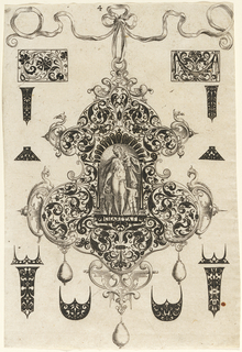 "Pendant design with scroll motifs and hanging pearls.  Central Image:  Figure of Charity next to a child and  Two Saints (?)   Inscribed below: ""CHARITAS"".   Surrounding the pendant are blackwork ornament designs for enamelists, mostly showing possibilities for the top and sides of rings.   (Matted with 6161.1/3.2000)"