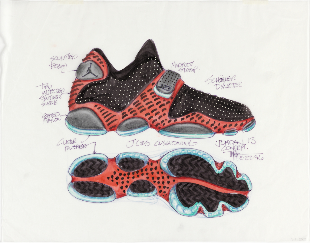Two views of sneaker described with great energy and movement.  Sneaker in profile (above) in red (with black dots) and black (with white spots) and clear plastic cushioning in black and turquoise.  Logo of man dunking basketball on rear of shoe. Sneaker sole (below), segmented in globular compartments, in red, black, and turqoise.