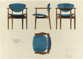 View of front, side, and back of wood and blue upholstered armchair, from left to right across upper half of sheet.  Plan of armchair in the lower middle of sheet, with pre-printed multiple image of chair at lower left.