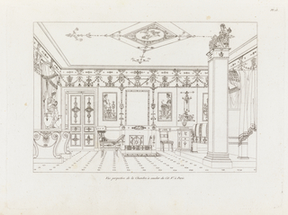 This image shows an interior of a bedroom.  The bed is draped and raised on a platform on the right side of the room opposite a large table with statue of a god in classical dress holding a wreath in his hand.
