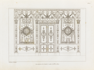 Heavily ornamented doors and wall with blend of ancient Egyptian, Roman, and Greek motifs, including faces, figures, griffins, sphinxes, peacocks, garlands, and laurel wreaths.