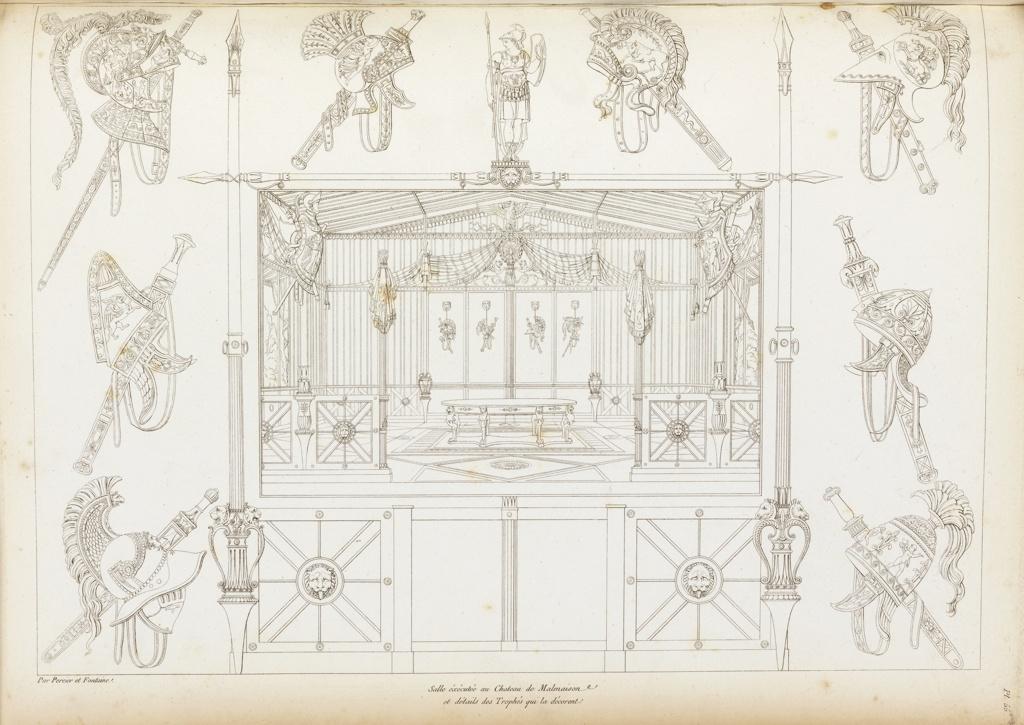 Print, Salle éxécuté au Chateau Malmaison (Room Designed for Chateau Malmaison), plate 55, in Recueil de decorations interieures (Collection of Interior Decorations)