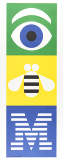 "Sheet divided horizontally into three equal sections.  In upper section, on green ground, an eye with blue iris and white eyebrow; below, on a yellow ground, a white bee with black stripes; below this, on blue ground, an ""M"" in horizontal white stripes."